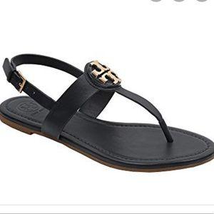 Tory Burch Black / Gold Bryce Flat Thong Sandals
